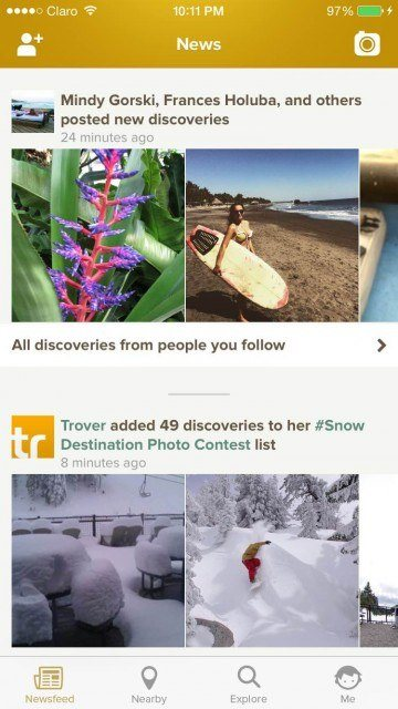 Trover newsfeed