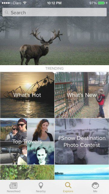 Explore screen in Trover iPhone app