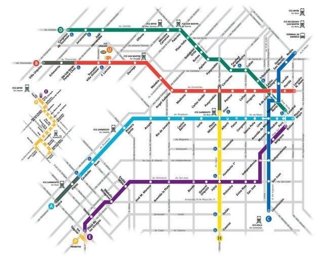 Buenos Aires Subterraneo map