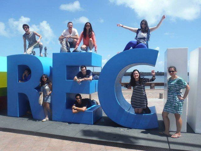 The big letters at Marco Zero, where the Portuguese landed, is a popular hang out for locals and tourists.