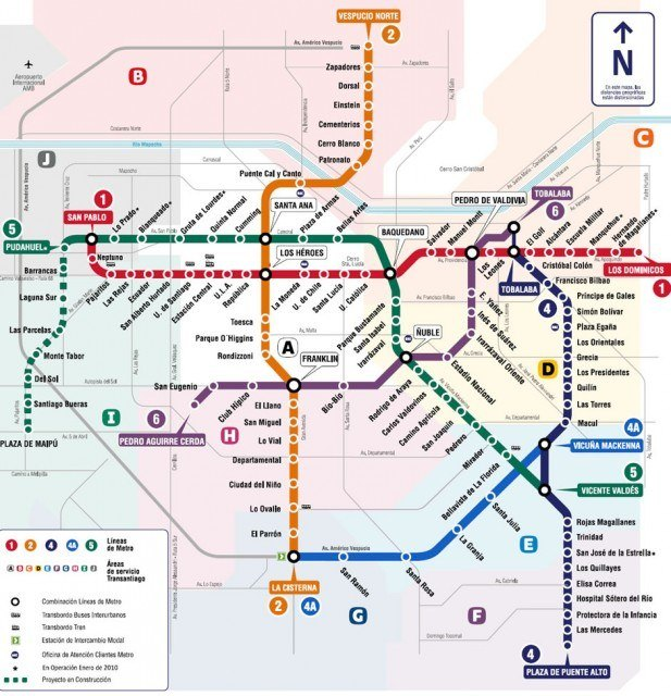 Santiago Subterraneo map