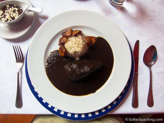 Mole with chicken in Oaxaca