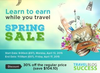 Spring Sale: Save 30% on Travel Blog Success