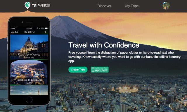 TripVerse itinerary viewer homepage