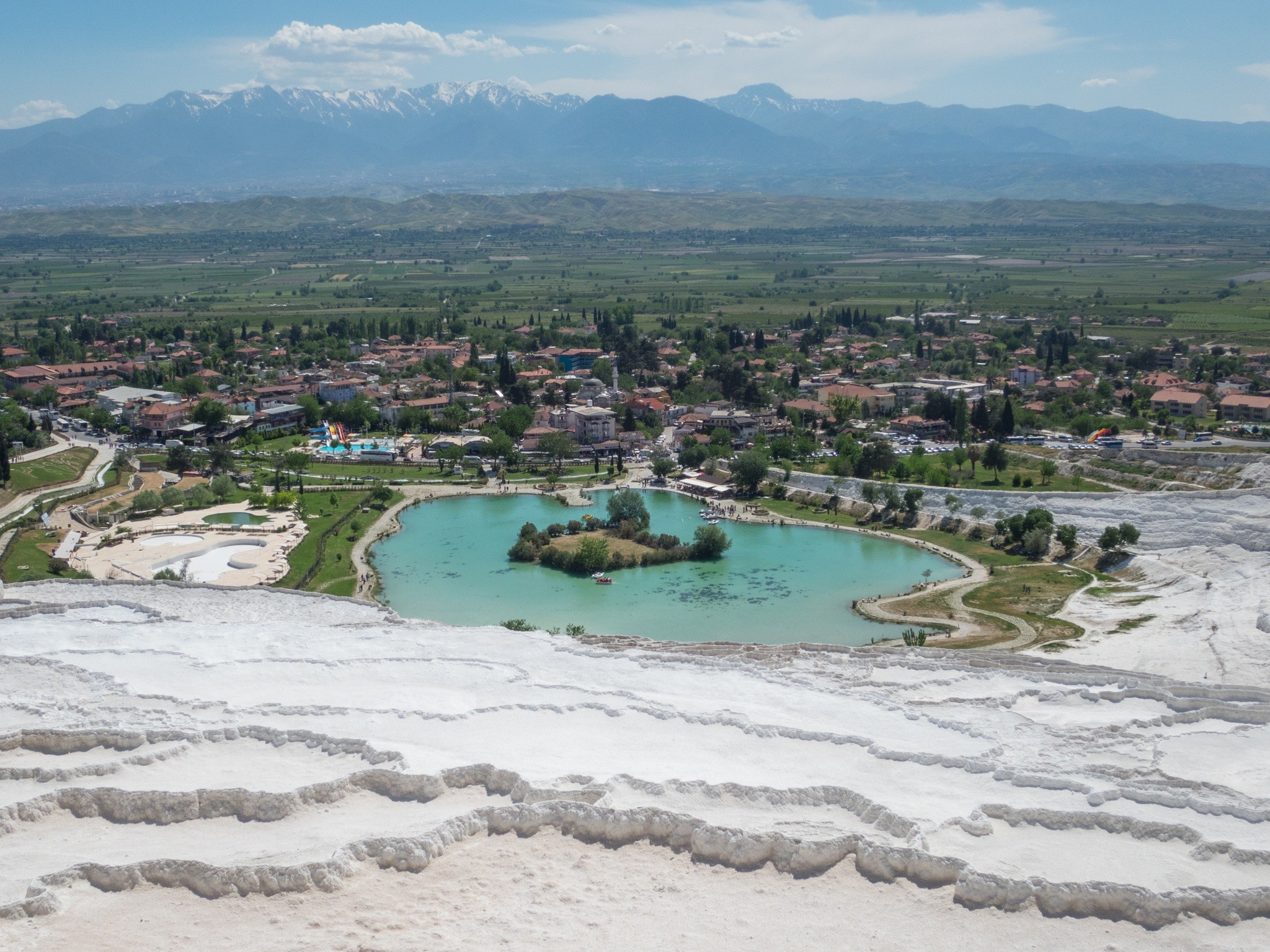 View from the top of Pamukkale cotton castle in Turkey.