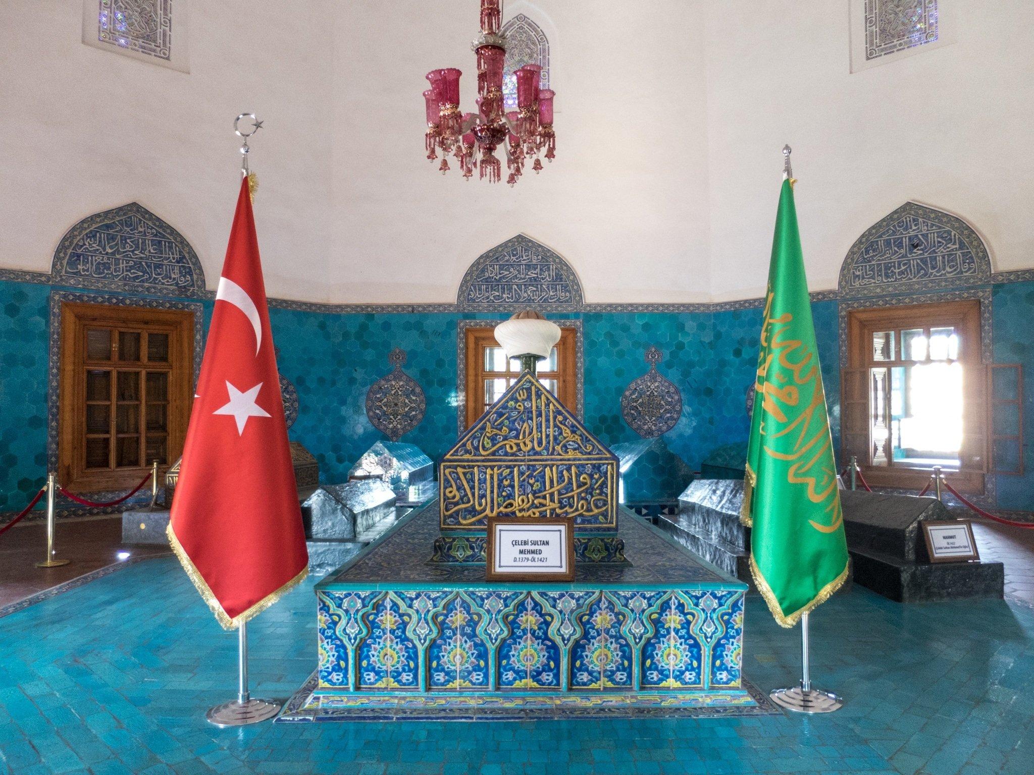 Burial sites inside the Green Tomb in Bursa, Turkey.
