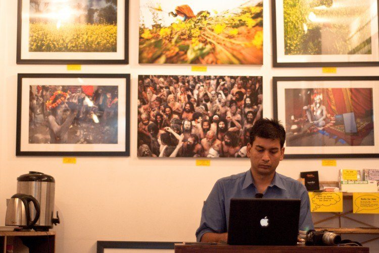 A typical cafe meets work meets gallery space in Hauz Khas Village