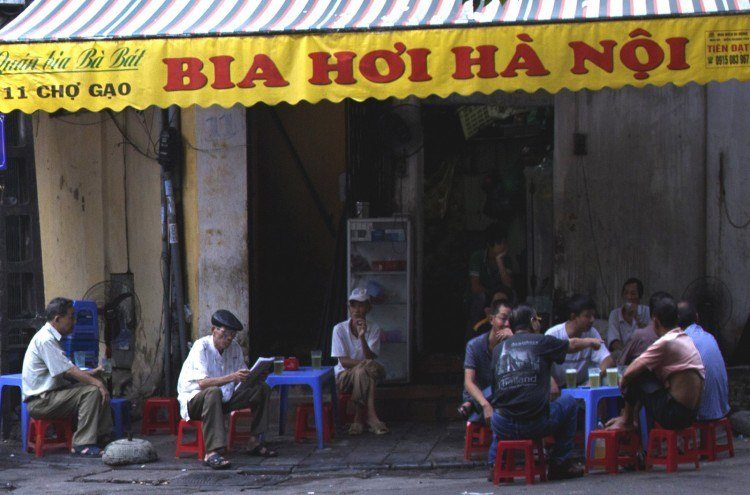 Suppin' on Bia Hoi in Hanoi