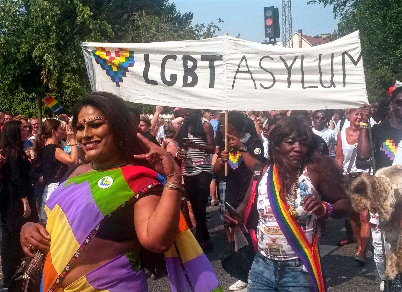 LGBT asylum seekers in the parade at Copenhagen Pride.
