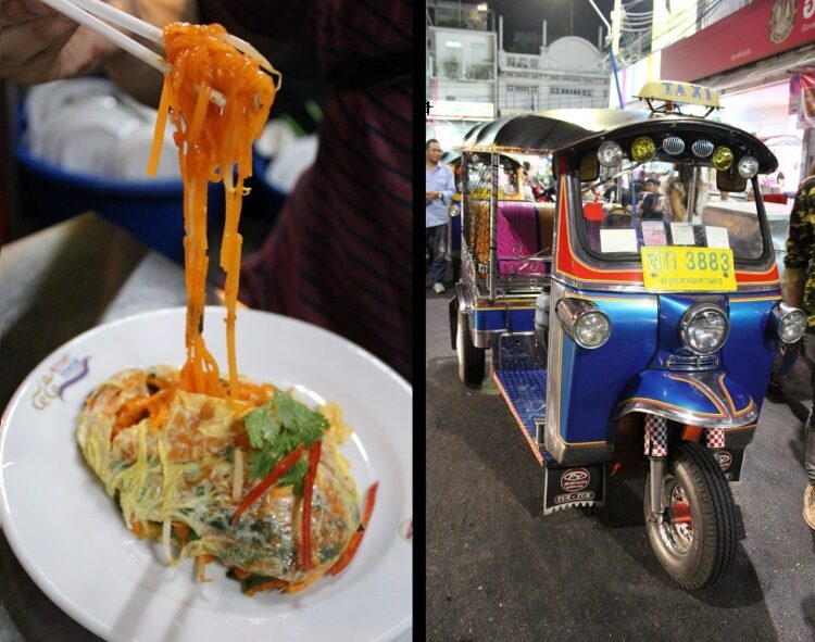 Bangkok food scene, tuk tuk and pad thai