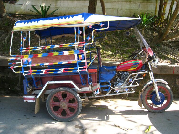 In Luang Prabang in northern Laos, you can take a moto-rickshaw to the airport (photo: Dave Lee)