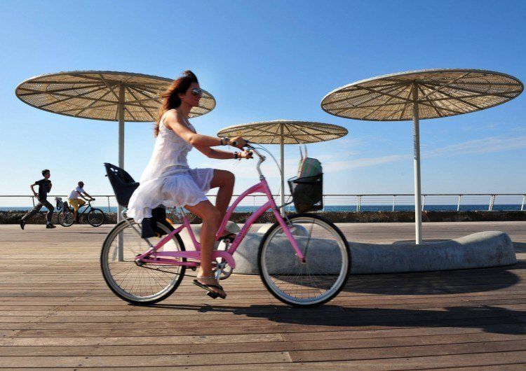 Bicycling in Tel Aviv, Israel