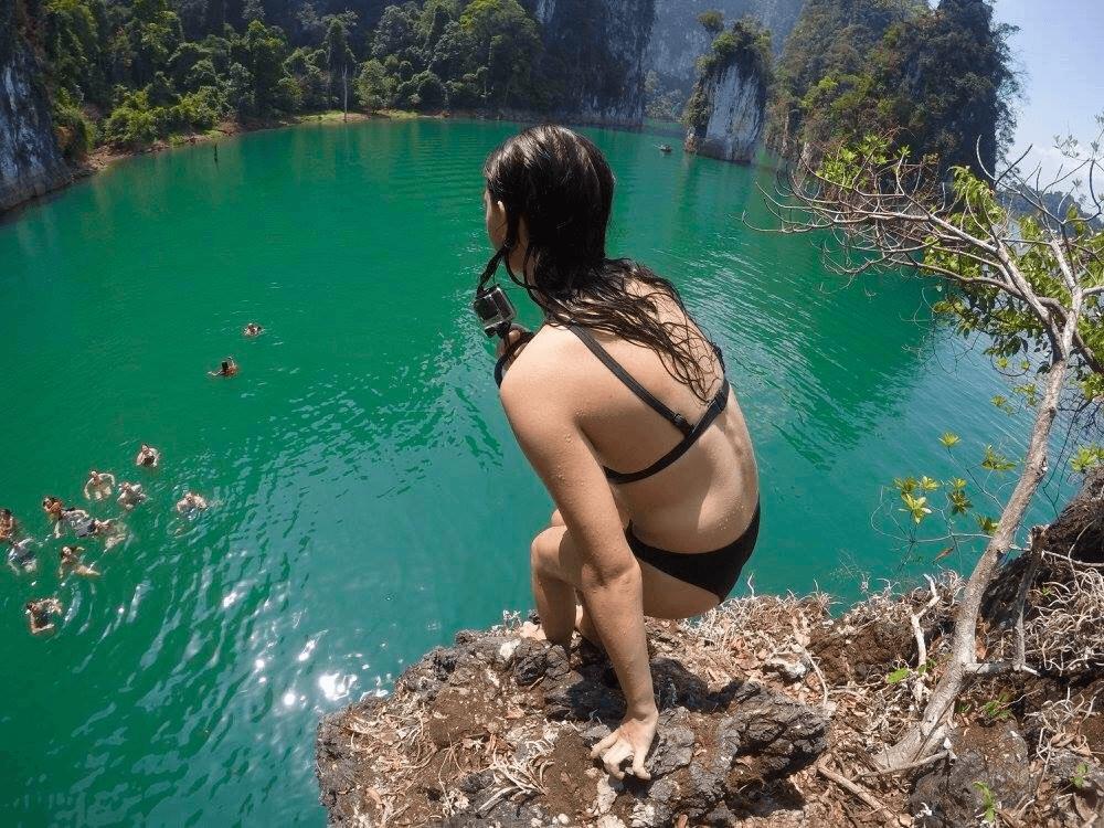 Amber preparing to cliff dive