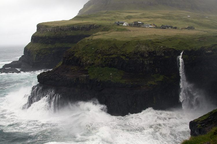 The small town of Gàsadalur, made famous by its waterfall.