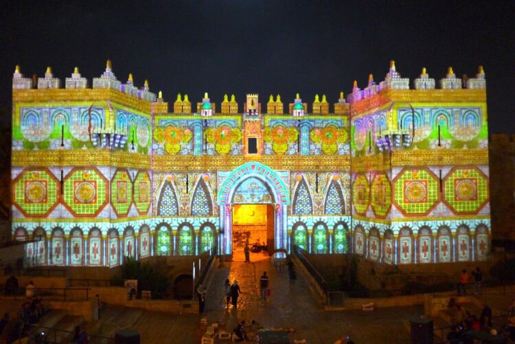 Damascus Gate at Jerusalem Light Festival