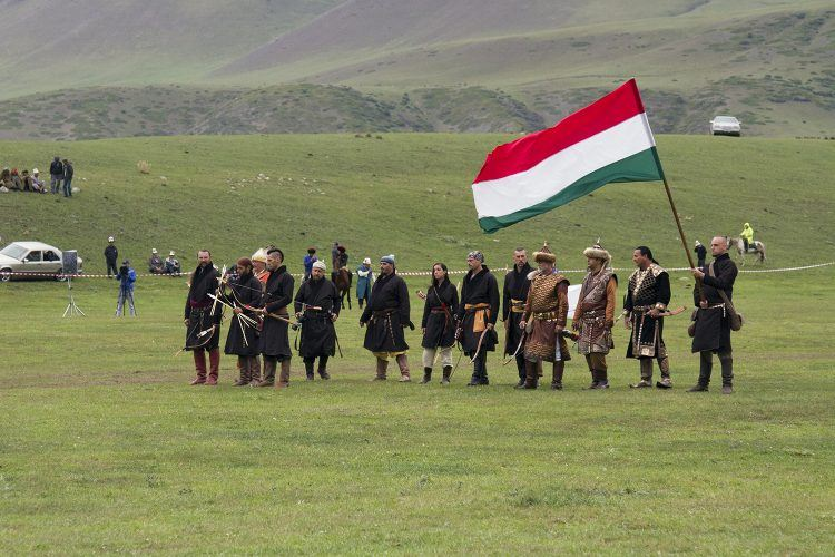 The Hungarian Archery team, before putting on a spectacle for all watching.