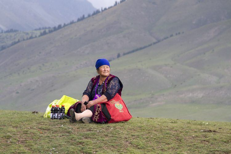 A Kyrgyz lady at Kyrchyn.