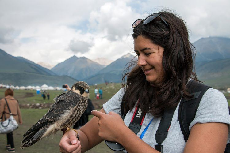 The author with a falcon