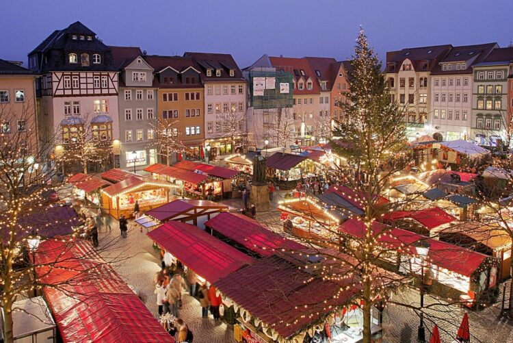 A Christmas Market in Germany (sourced via Wikipedia Commons)