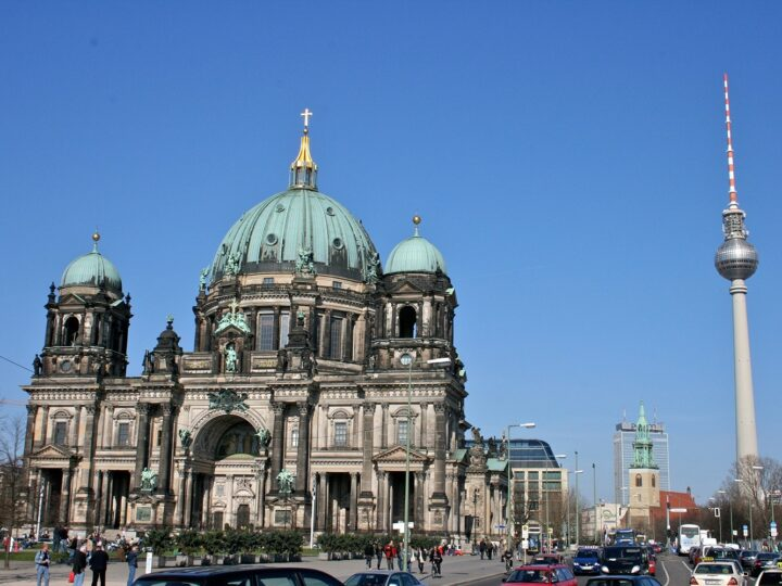 Berlin Cathedral - Berliner Dom, with the Berlin TV tower in the background