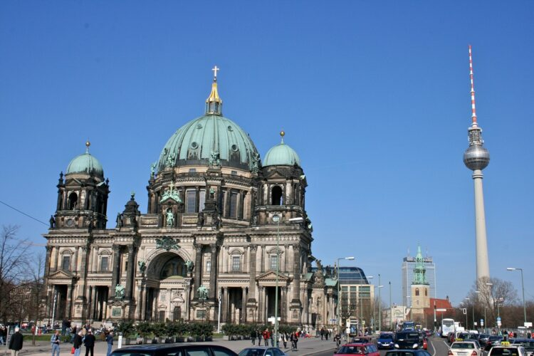 Berlin Cathedral with the Berlin TV tower in the background (Credit: Wiki)