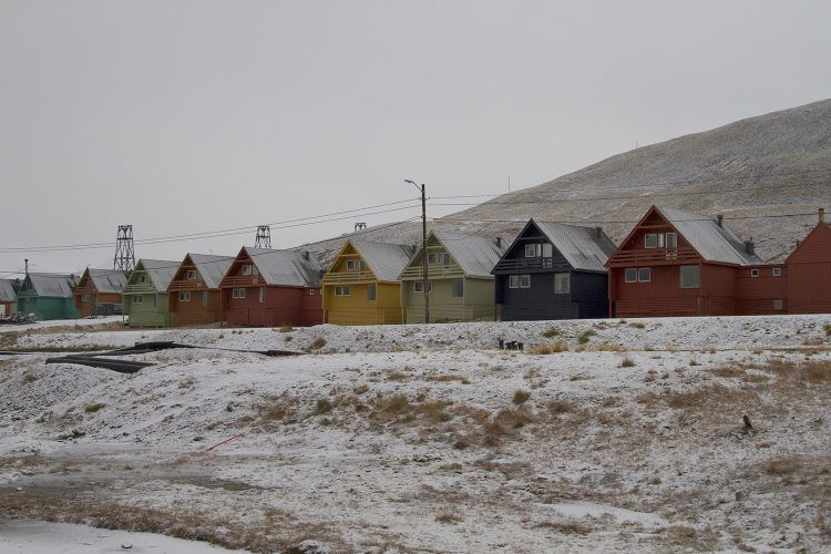 Snow covered houses in Longyearbyen, Svalbard.