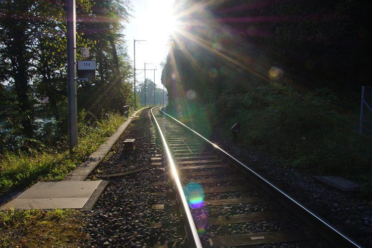 Sun dappled train tracks in Switzerland (Credit: Patrick Finnegan)