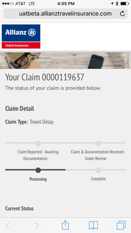 Allianz claim status