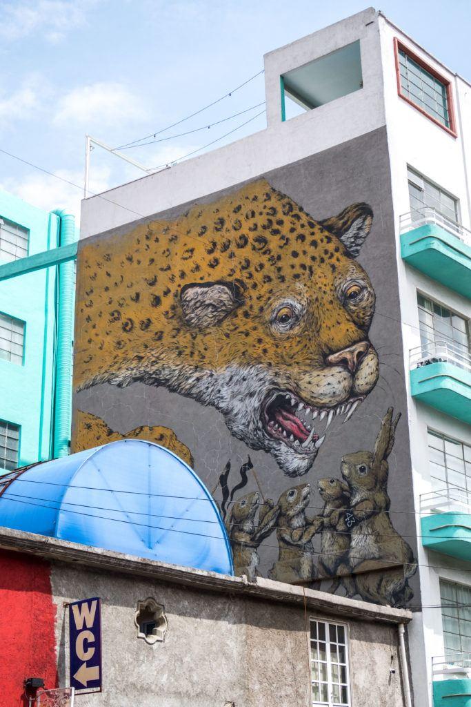 Leopard mural - Mexico City