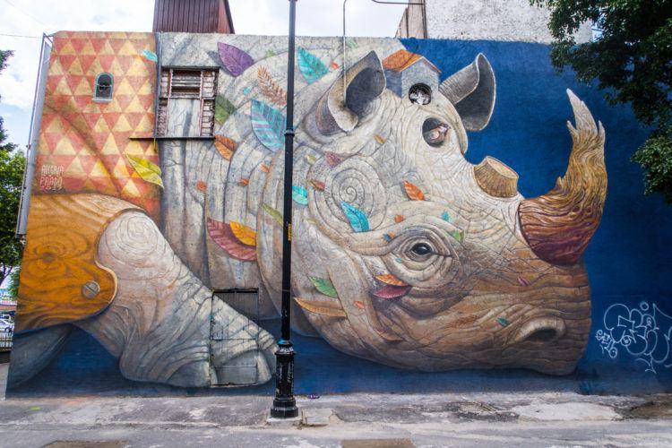 Rhino mural - Mexico City