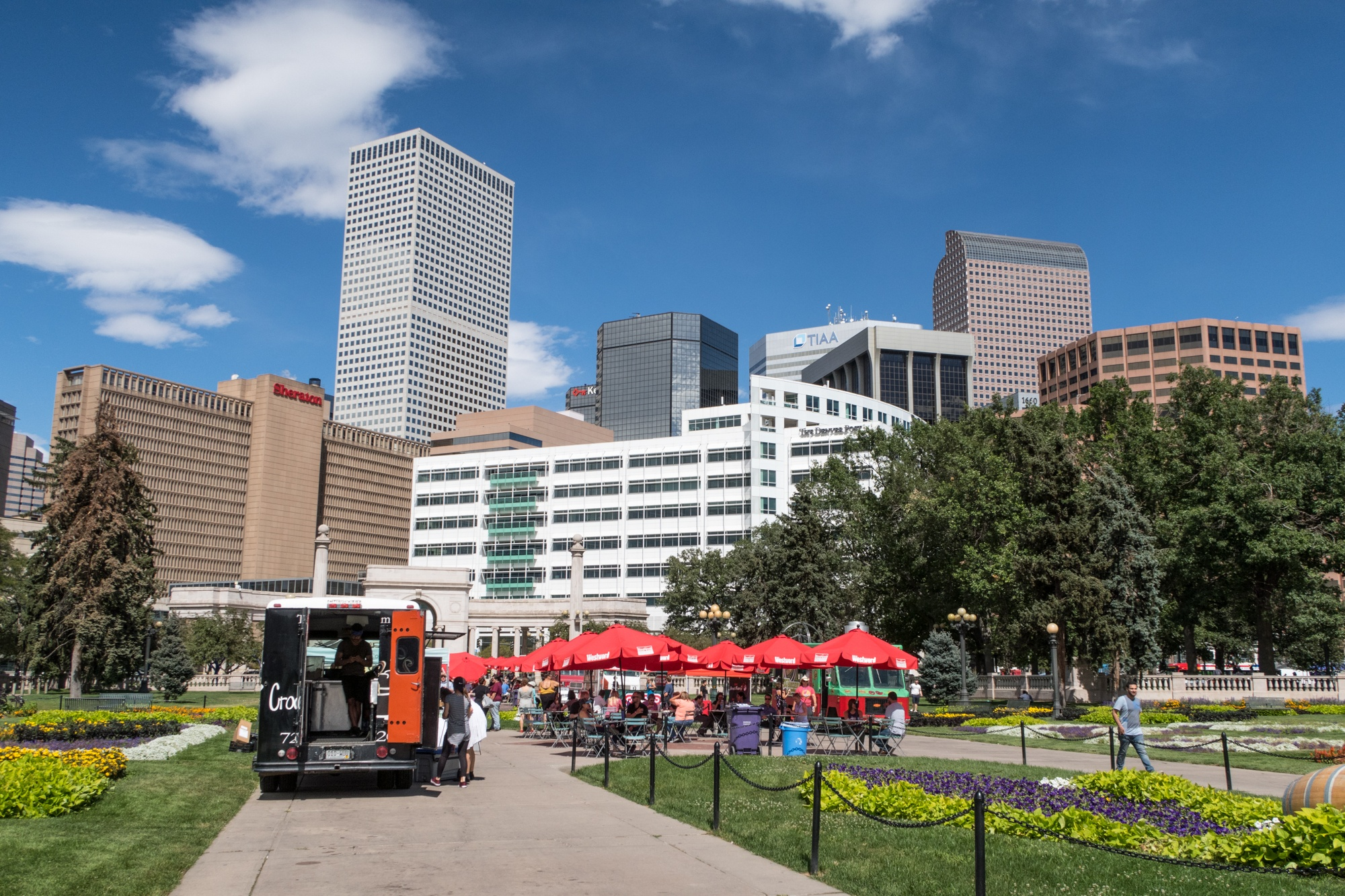 Food trucks at lunchtime in Civic Center Park