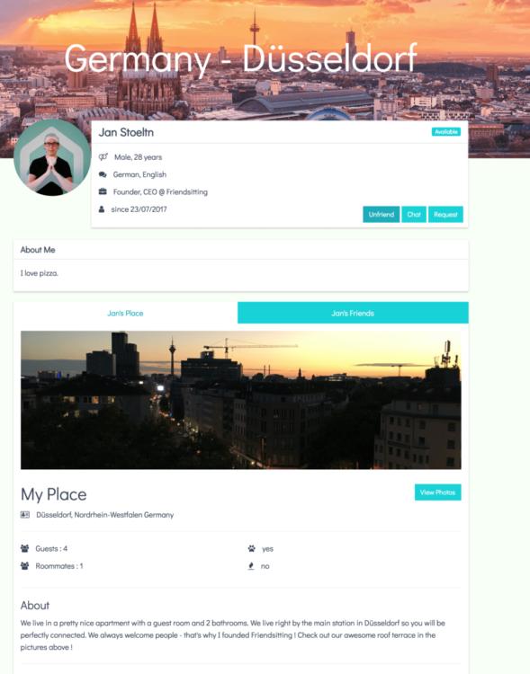 Friendsiting profile screen
