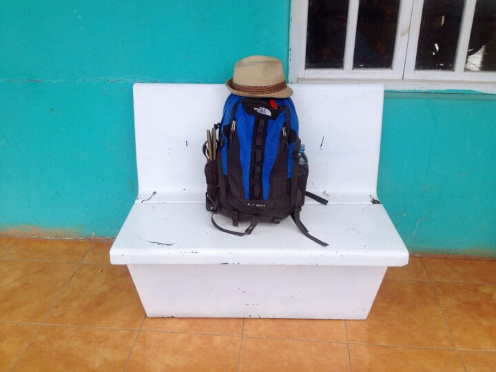 Backpack with red combo lock - Ometepe, Nicaragua