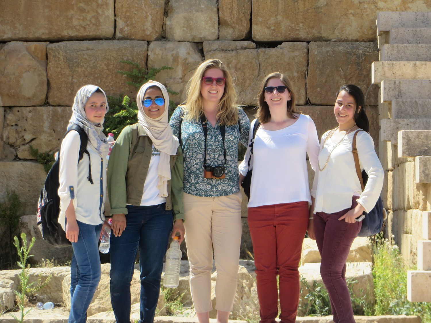 Taking selfies with the locals in Jerash