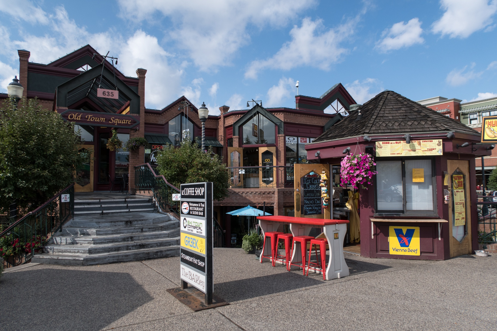 Shops and restaurants in downtown Steamboat Springs