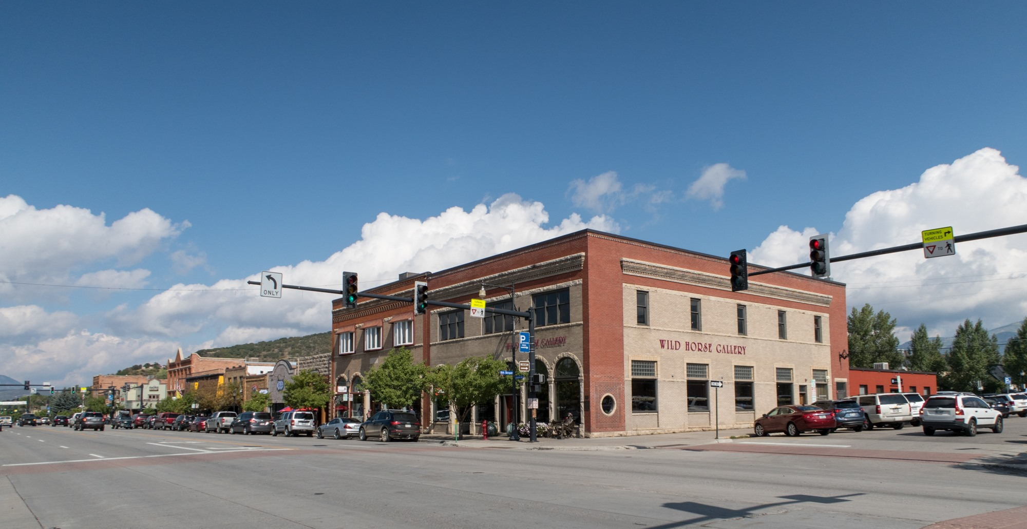 The main street running through Steamboat Springs, Colorado