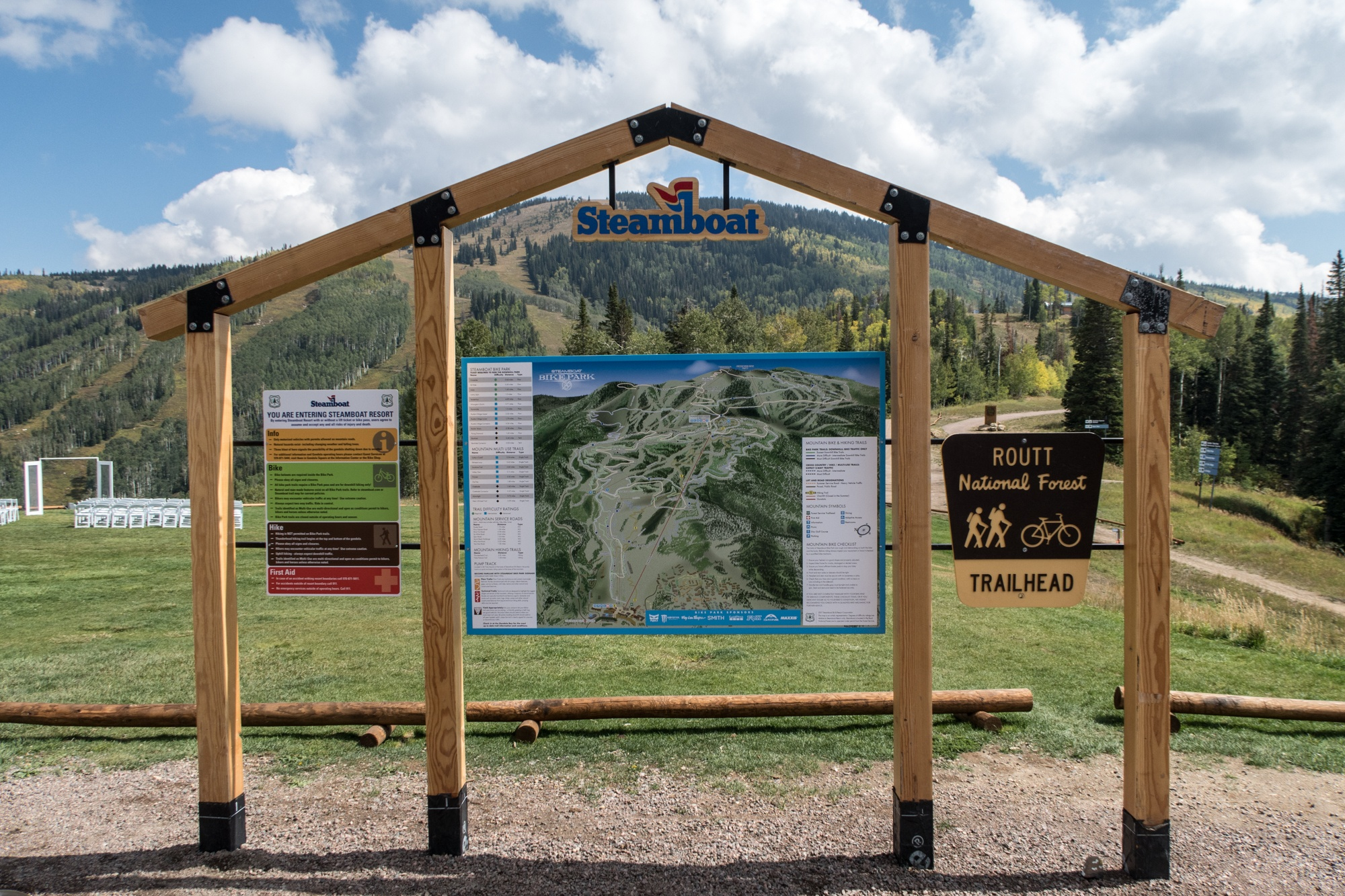Mountain biking trail map atop Thunderhead Mountain