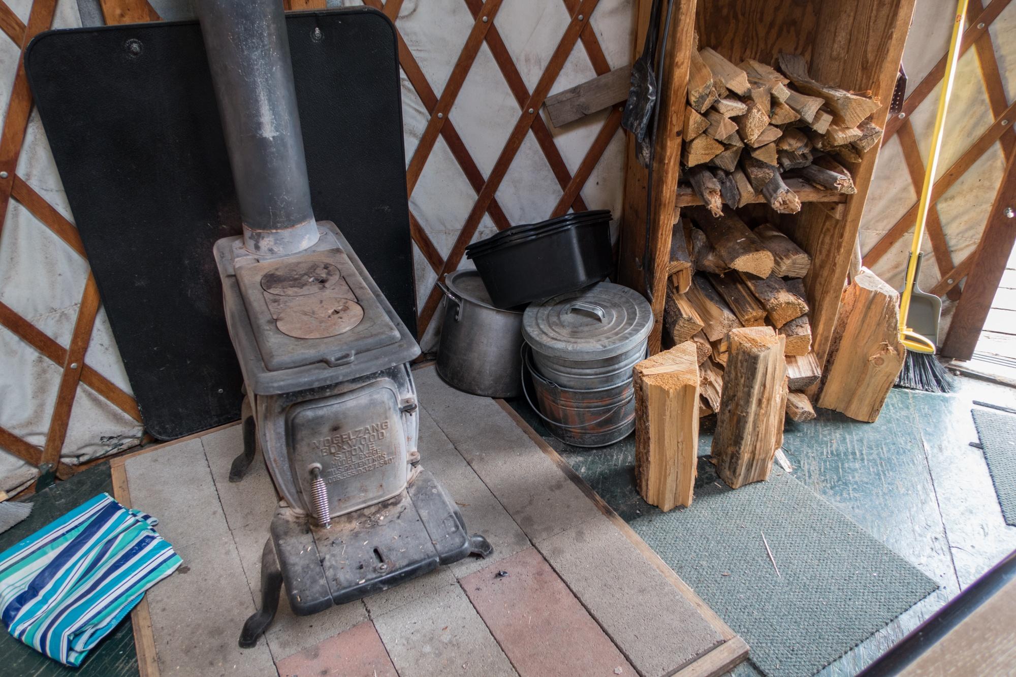 Wood stove and lumber