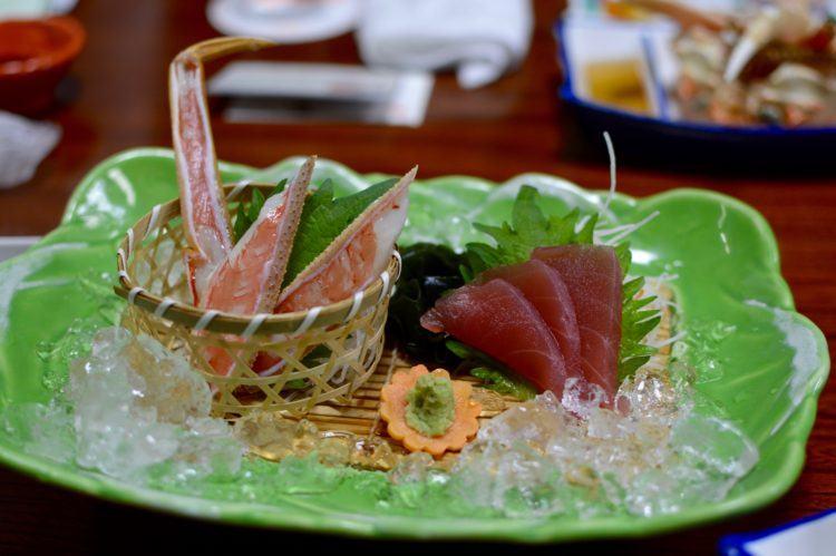 Crab sashimi in the Chubu Region