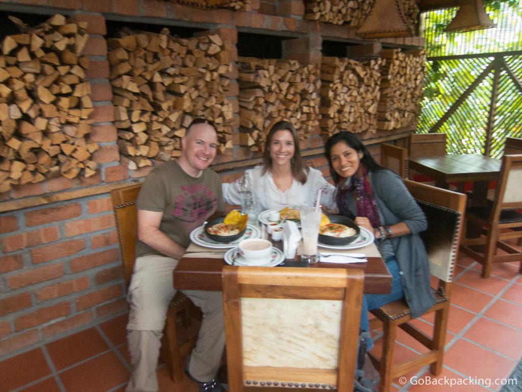 Lunch at La Queareparaenamorarte in Rio Negro, Colombia