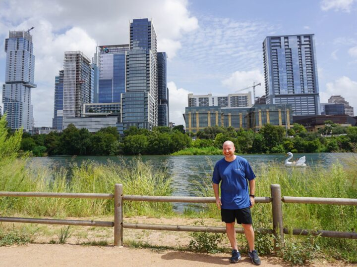 Wearing Columbia sportswear on a walk around Ladybird Lake in downtown Austin
