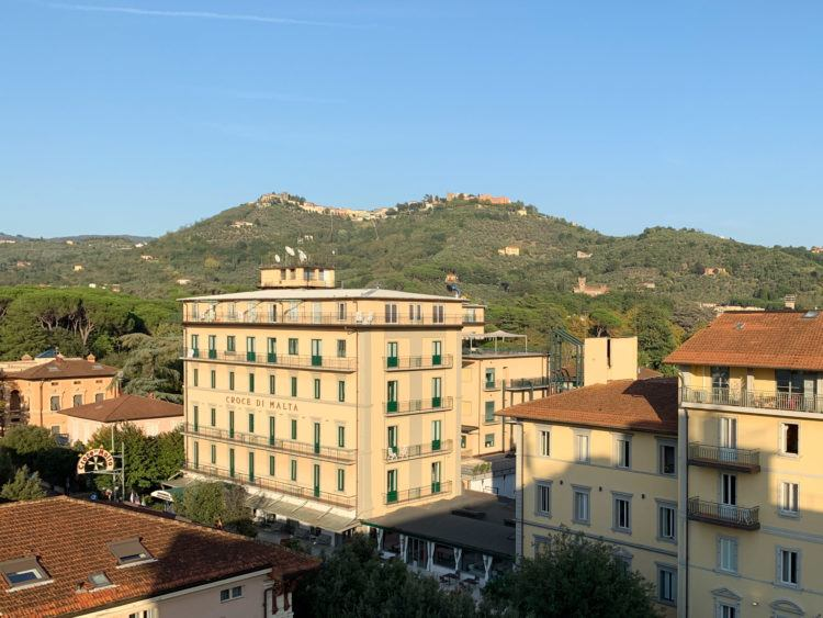 Montecatini Terme, with old town visible on hilltops