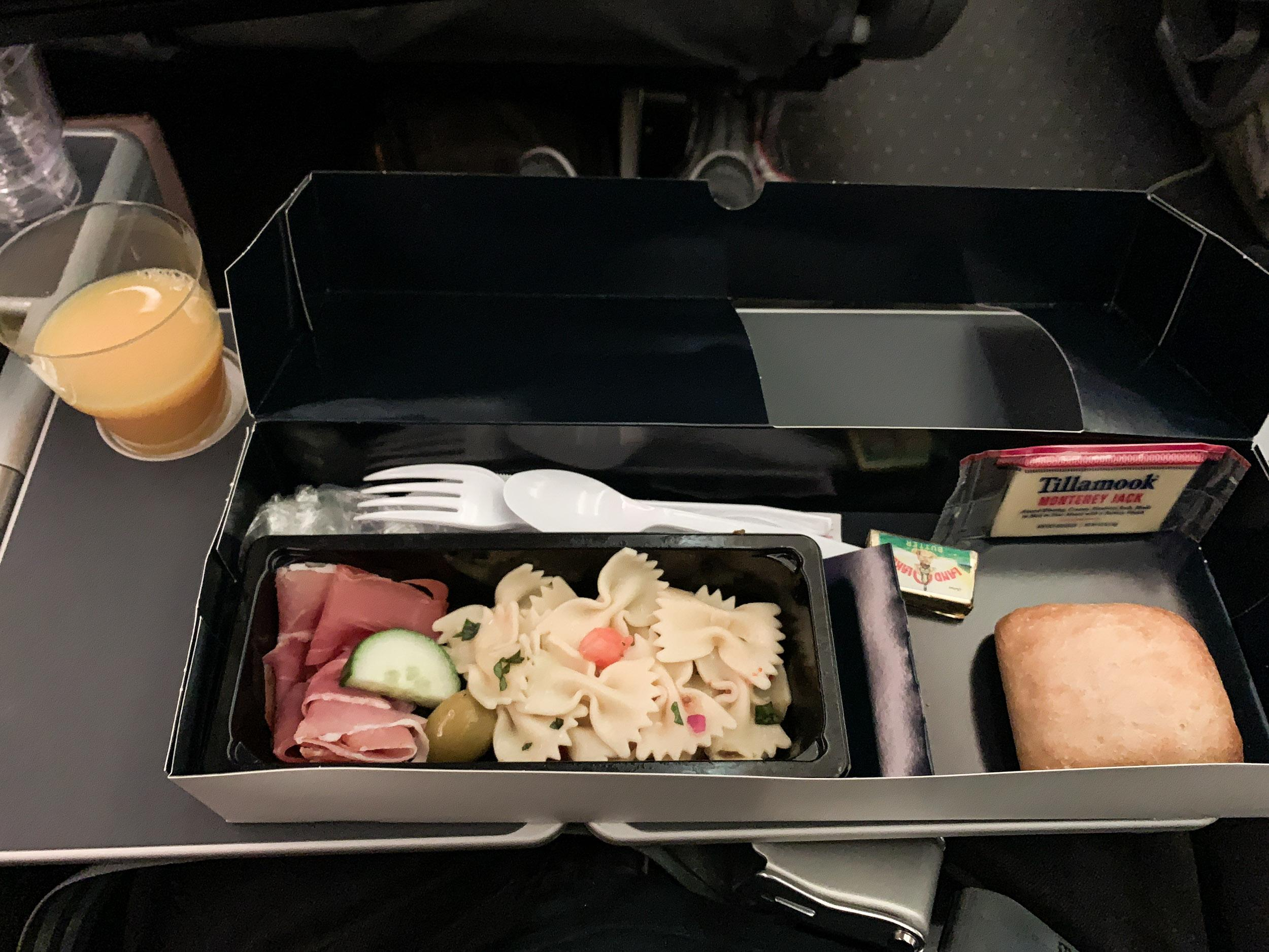 Snack service before landing at London Gatwick airport