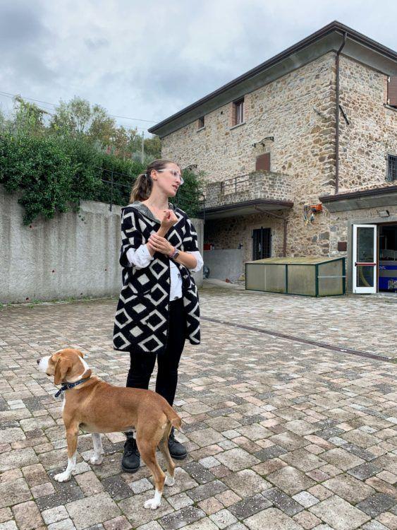 Francesca Ferrari with her dog Homero