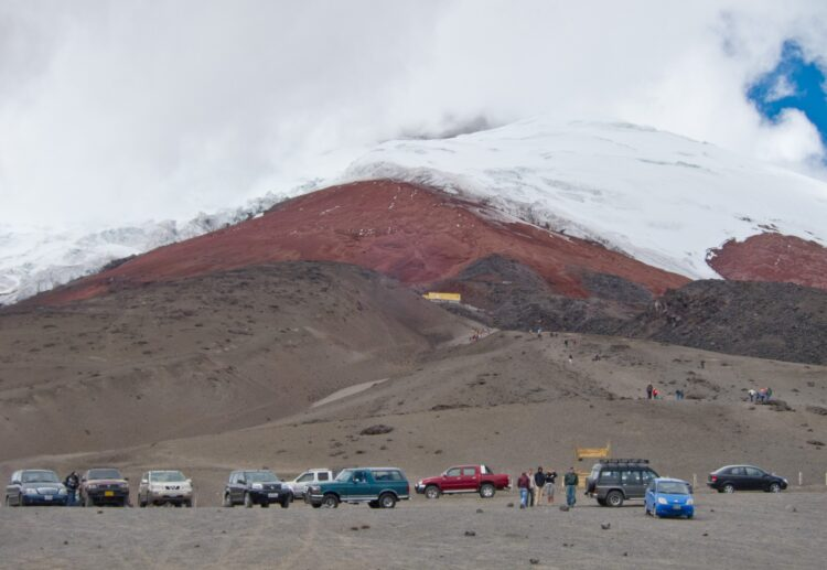 The parking lot at Cotopaxi Volcano - 4,500 meters above sea level