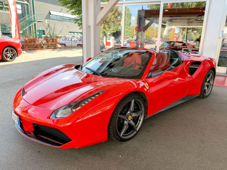 Red Ferrari 488 Spider in Maranello, Italy
