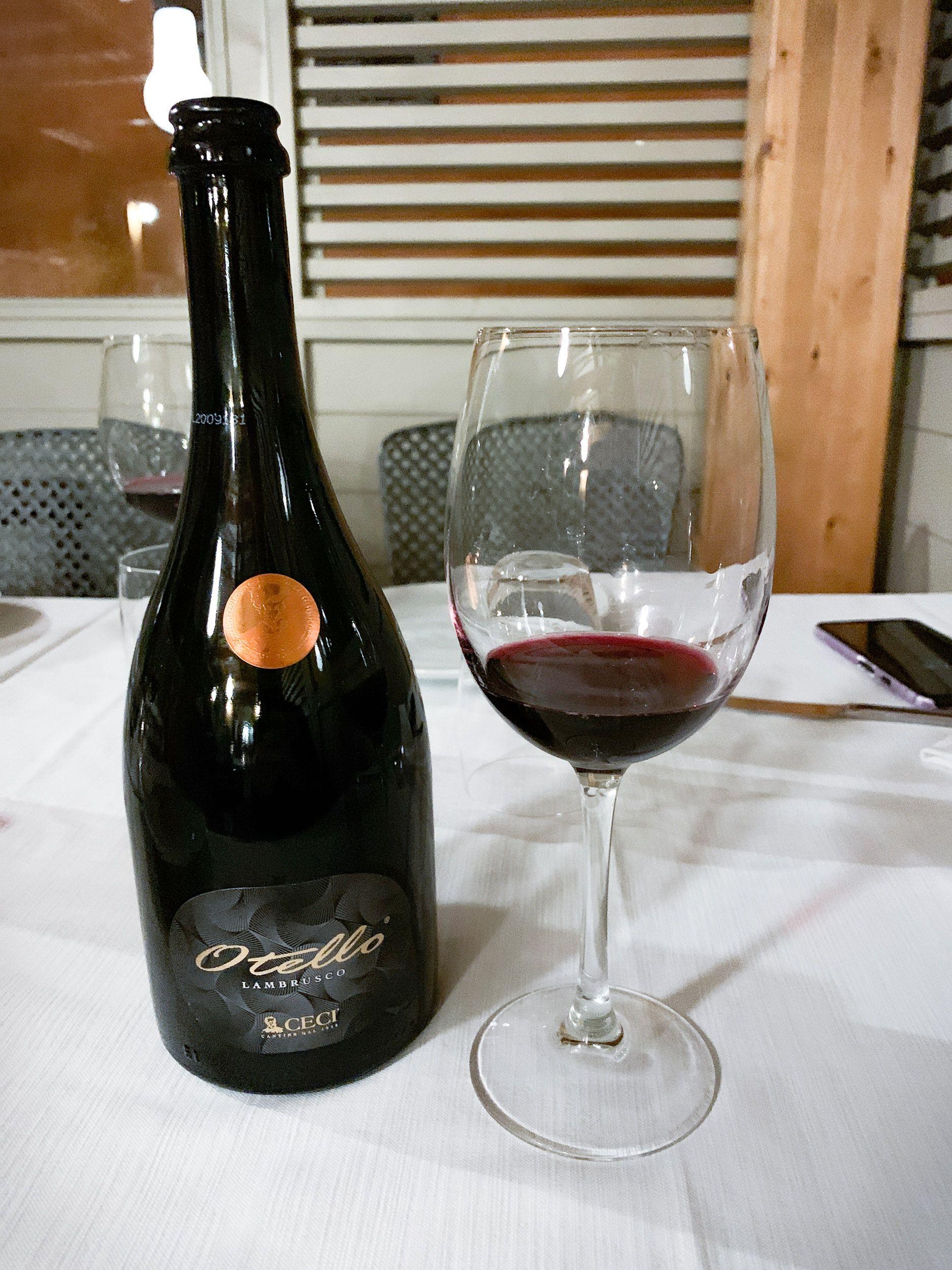 Lambrusco is sparkling red wine common in Emilia-Romagna, Italy.