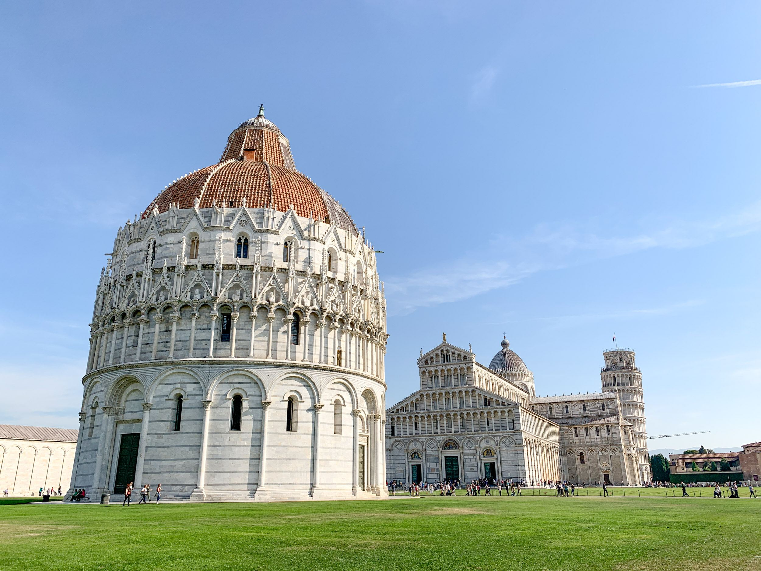 Pisa Baptistery (foreground), Cathedral, and Tower