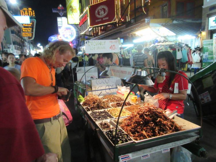 Spiders, scorpions and bugs for sale on Khao San Road
