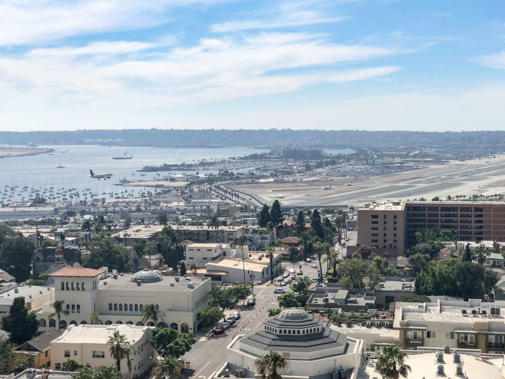Watching planes land at the San Diego Airport